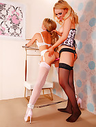 Slave Jasmine Sinclair gets her kinky wish from Mistress Katie K. Over-the-knee spanking, pussy spanking.