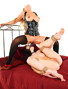 Innocent little brunette Kacie James whipped, stripped, tied, strap-on fucked and used for face-sitting masturbation by Jasmine Sinclair