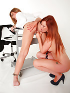 Sexy teacher tied and lesbian fucked