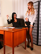 Jasmine Sinclair's inheritance is on the line, and the only way she is going to get through all the red tape is if she agrees to do everything her lawyer Jasmine Jae asks of her. And we mean EVERYTHING!! Sinclair is ordered up on to the desk. Soon this little blonde is handcuffed, leg ironed, and EXPOSING HER SEX HOLES to the kinky lawyer! Jasmine Jae WHIPS HER BACKSIDE and BRINGS HER TO ORGASM! Jasmine Sinclair uses her tongue and her mouth to satisfy the lawyer's sexual desires. And now it's time to get out her STRAP-ON... Is it fair? It doesn't matter. THIS IS THE FUCKING LAW! ;-)